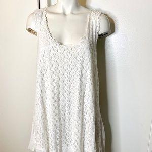 Sundance Off White Lace Knit Tank Top XL